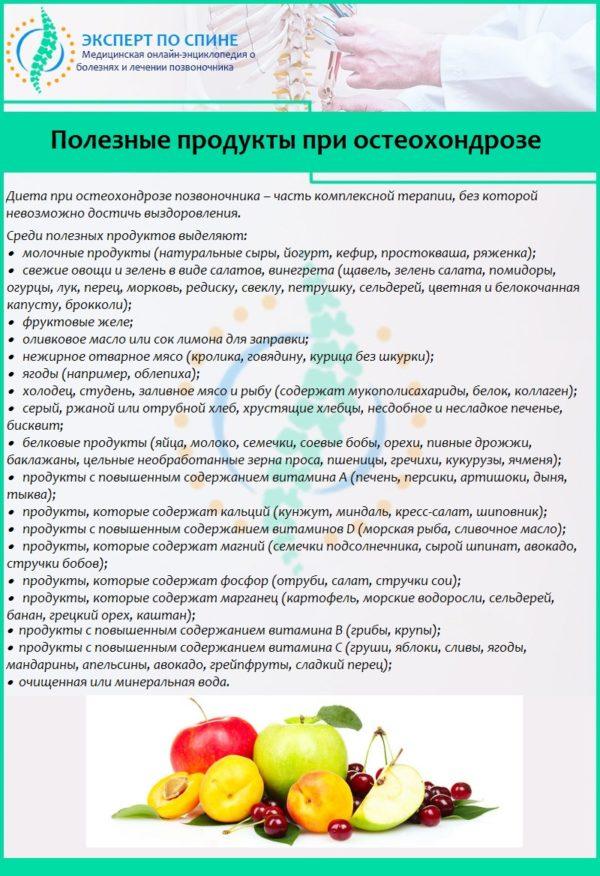 диета при остеохондрозе шейном остеохондрозе
